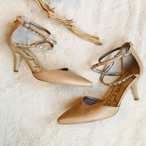 Sam Edelman Beige Leather Kitten Heeled Pumps